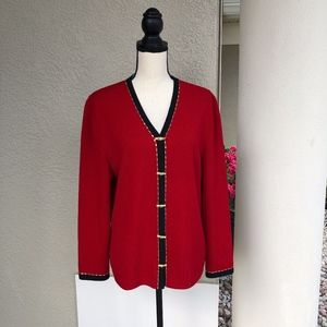 St John Collection Red,Black,Gold Cardigan Size 10